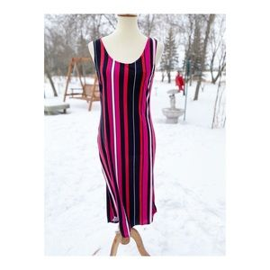 Casual Sleeveless Maxi Dress Stripes Stretch